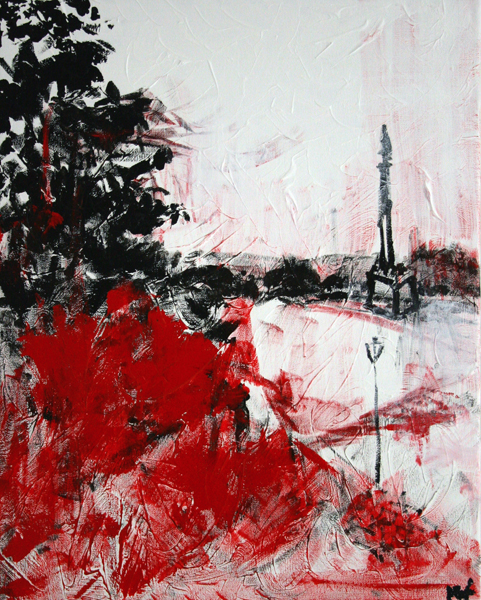Art by alyseradenovica landscape of kalemegdan in vivid white black and red art landscape alyse radenovic